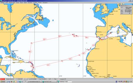 Segelyacht Peer Gynt - Atlantikroute